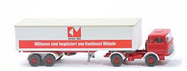 MB LPS 1620 Koffer-Sattelzug - Kontinent Aufl-Chassis rot - 513/11a