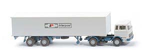 MB LPS 1620 Containersattelzug - INTERPOOL  grauweiss / azurblau - Interpool - ?