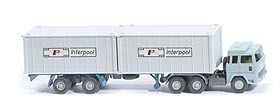 Magirus 235 D Container-Sattelzug - Interpool 2 x 20ft gerippt, Cont. altweiss - Interpool 1 ?