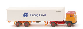 Scania 110  Container-Sattelzug - HAPAG/LLOYD melonengelb / melonengelb - Hapag/Lloyd 8c
