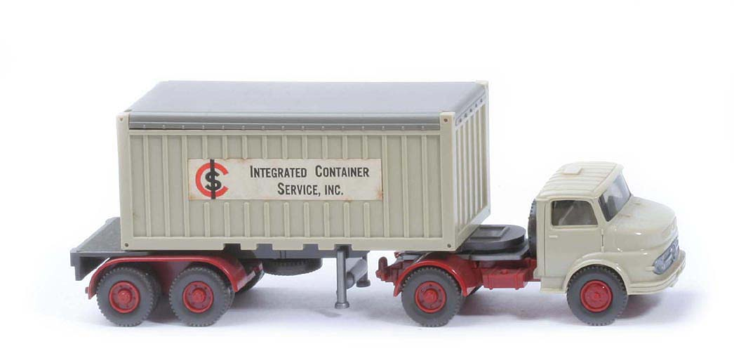 MB LS 1413 Container-Sattelzug 20ft - ICS OT, FH, Container hellgelbgrau - 526/3a