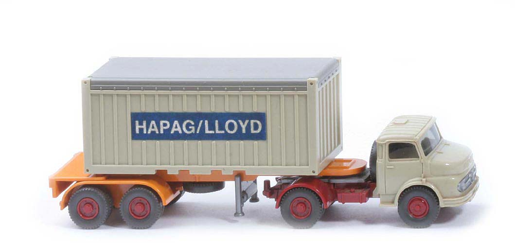MB LS 1413 Container-Sattelzug 20ft - Hapag/Lloyd OT, FH hellgelbgrau, Cont. hellgelbgrau - Hapag/Lloyd (1413) ?